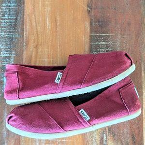Toms Burgundy Canvas Slip on Shoes 8